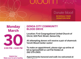 March 30th Blood Drive