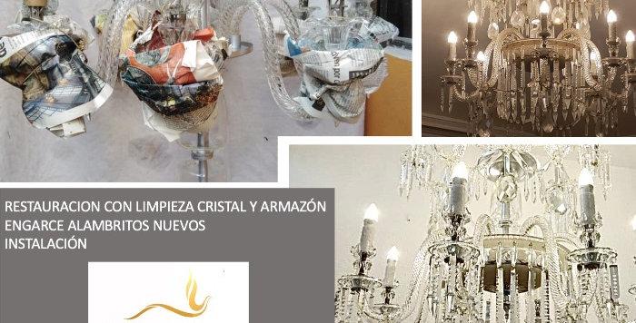limpieza y engarce de lámpara de cristal