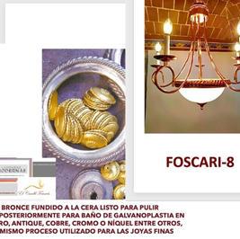 FOSCARI-9/COBRE, 7 luces, 70cm Diámetro, 70cm Alto.