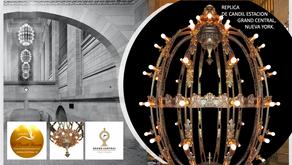 Réplica sobre diseño de candil de la estación Gran Central T, Nueva York, 72 luces, 100cm Diámetro,