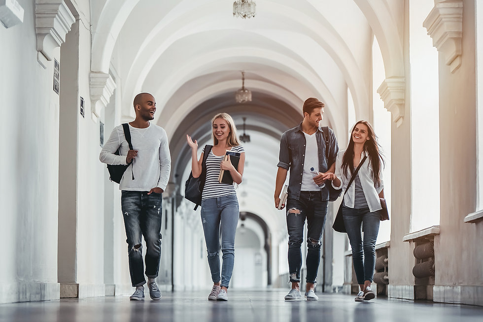 Multiracial students are walking in univ