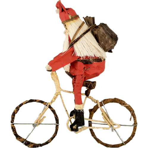 Hardworking Santa on a bicycle