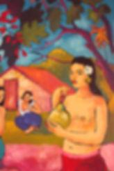 Francophonie 2017 institut français d'Athènes, Peinture de Pascaline Bossu d'après Gauguin