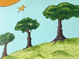 Fresque murale à l'acrylique de Pascaline Bossu, le petit prince, institut français d'Athènes Grèce