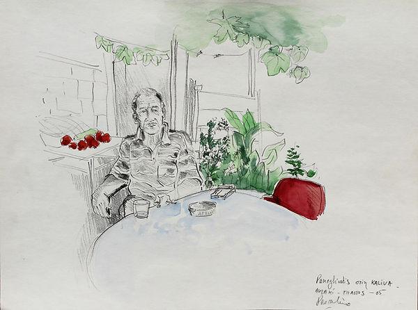 Croquis au crayon de Pascaline Bossu, à Chryssia Amoudia Thassos