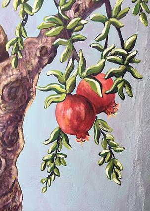 Fresque murale, grenadier, peinture acrylique de Pascaline Bossu. Thassos Grèces