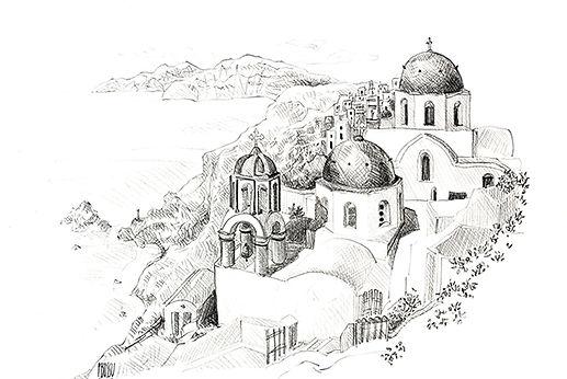 Croquis au crayon et aux encres du vignoble crétois, de Pascaline Bossu, Crête Grèce