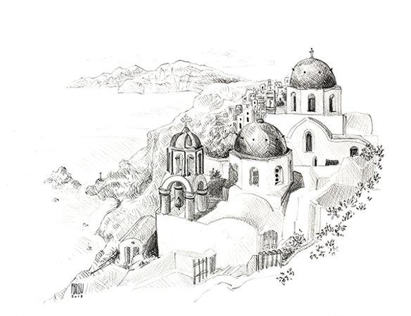Ile de Santorin, Cyclades Grèce, croquis au crayon de Pascaline Bossu