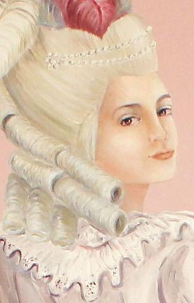 Peinture à l'huile de Pascaline Bossu, décoration inspirée des jardins de Versailles et du style Marie-Antoinette