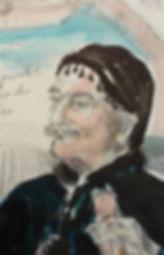 Croquis au crayon et aux encres de Pascaline Bossu, crêtois en costume traditionnel, Crête Grèce