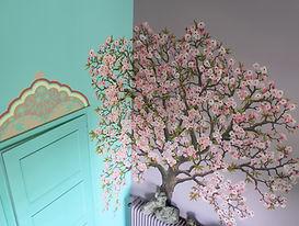 Fresque cerisier de Pascaline Bossu, Kokkino Home, Grèce