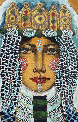 Peinture à l'acrylique sur toile de jute de Pascaline Bossu, costume marocain