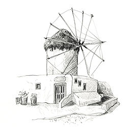 Ile de Myconos, Cyclades Grèce, croquis au crayon de Pascaline Bossu
