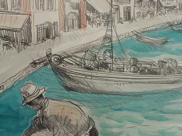 Croquis au crayon et aux encres de Pascaline Bossu, port de Chania, Crête Grèce