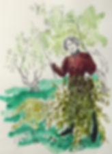 Croquis au crayon et l'encre de Pascaline Bossu, Péloponèse Grèce