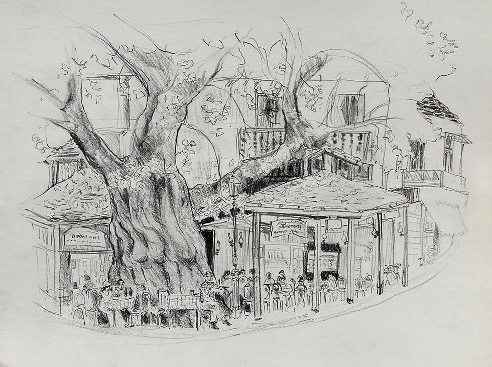 Croquis au crayon de Pascaline Bossu, à Panagia, Thassos