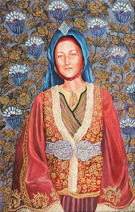 Portrait de Nicole Bossu en costume traditionnel grec de Skyros peinture à l'huile et sanguine de Pascaline Bossu
