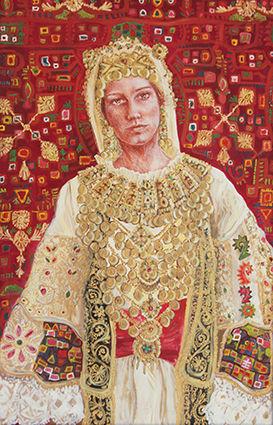 Portrait de Celestine Aposporis en costume traditionnel grec de l'Attique, peinture à l'huile et sanguine de Pascaline Bossu