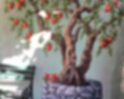 Fresque murale, grenadier, peinture acrylique de Pascaline Bossu.