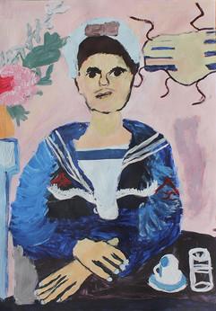 Marin, peinture d'enfant d'apres Tsarouchis