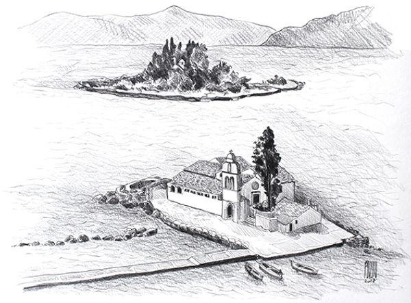 Ile de Corfou, Grèce, croquis au crayon de Pascaline Bossu u