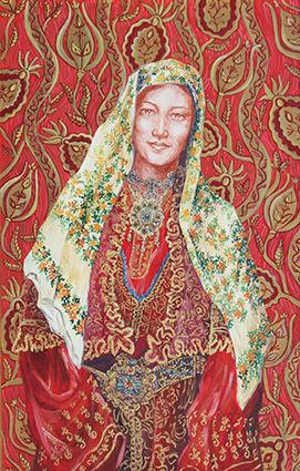 Portrait de Pascaline Bossu en costume traditionnel grec de Thassos peinture à l'huile et sanguine de Pascaline Bossu