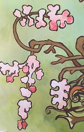 Fresque peinte à l'acrylique de Pascaline Bossu d'après Alphonse Mucha
