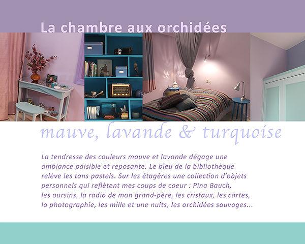 Kokkino Home, showroom de Pascaline Bossu, décoration, fresques, chambre mauve et lavandee