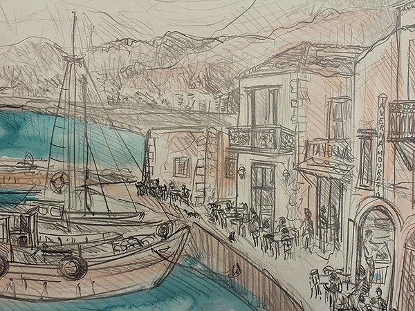 Croquis au crayon et aux encres de Pascaline Bossu, port de Réthymon, Crête Grèce
