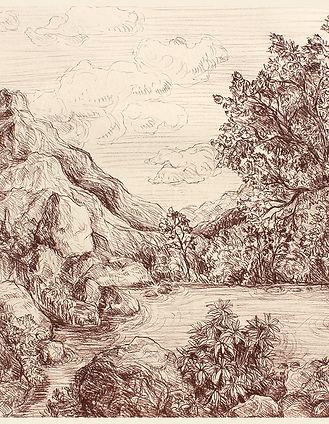 paysage grec dessiné à la sanguine par Pascaline Bossu, inspiré des dessins de Léonard de Vinci