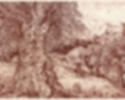 Paysage grec dessiné à la sanguine de Pascaline Bossu, inspiré des études de Léonard de Vinci.