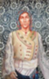Portrait de Daniel Bossu en costume traditionnel grec de Skyros, peinture à l'huile et sanguine de Pascaline Bossu