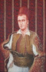 Portrait de Gaston Bossu en costume traditionnel grec, peinture à l'huile et sanguine de Pascaline Bossu