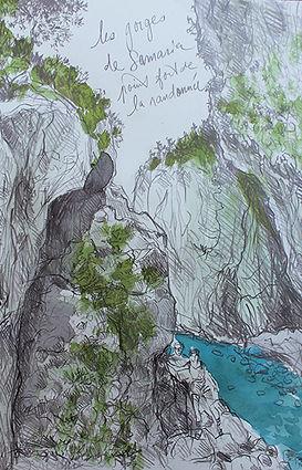 Croquis au crayon et aux encres de Pascaline Bossu, gorges de Samaria, Crête Grèce