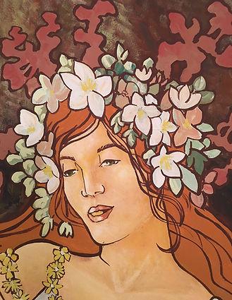 Fresque murale, le printemps d'après Mucha, peinture acrylique de Pascaline Bossu.