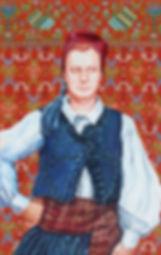 Portrait de André Petit en costume traditionnel grec de Paros , peinture à l'huile et sanguine de Pascaline Bossu