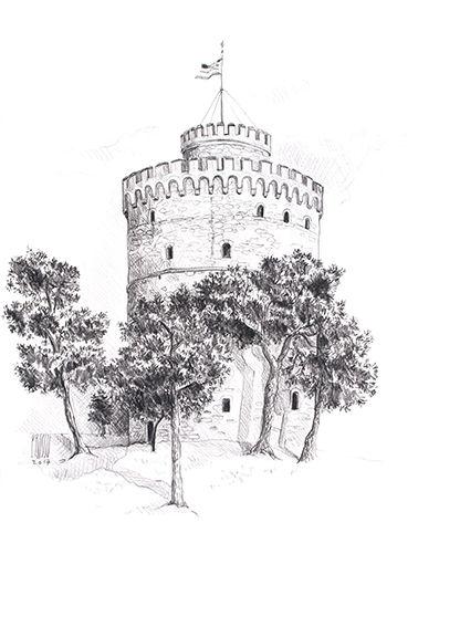 Tour blanche de Thessalonique, Grèce, croquis au crayon de Pascaline Bossu