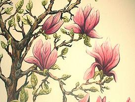 Fresque murale, magnolia, peinture acrylique de Pascaline Bossu.