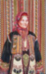 Portrait de Marie-Alexandrine en costume traditionnel grec de Thrace, peinture à l'huile et sanguine de Pascaline Bossu