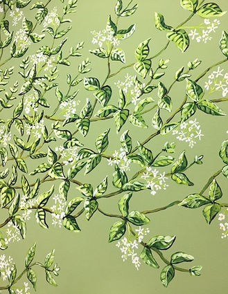 Fresque murale, jasmin, peinture acrylique de Pascaline Bossu.