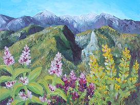 Peinture à l'acylique de Pascaline Bossu, Mont Olympe, Grèce