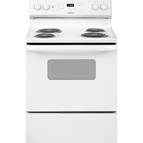 "White Hotpoint® 30"" Free-Standing Standard Clean Electric Range"