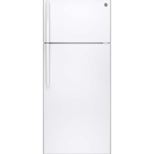 White GE® 17.5 Cu. Ft. Top-Freezer Refrigerator