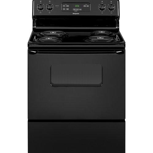 "Black Hotpoint® 30"" Free-Standing Standard Clean Electric Range"