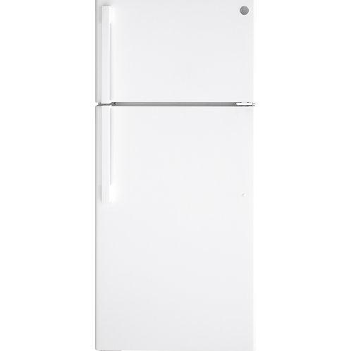 White GE® 16.6 Cu. Ft. Top-Freezer Refrigerator