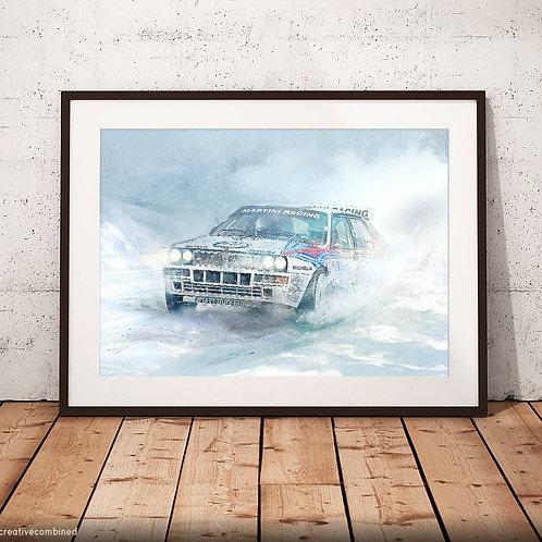 Lancia Delta Integrale HF - 'Deltona' - Monte Carlo Rally 1992 - Fine Art Print