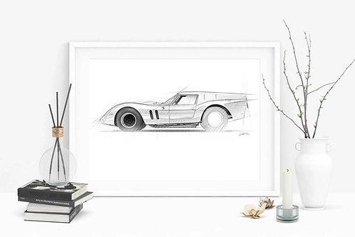 Ferrari 250GT SWB Breadvan 1962 - Fine Art Sketch Print