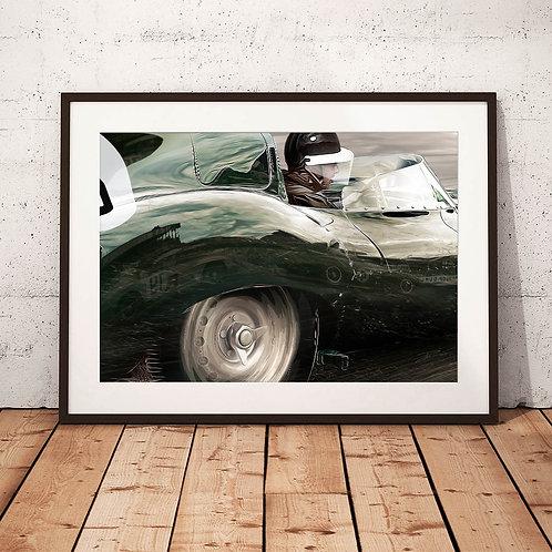Jaguar D-Type  Le Mans 24hrs 1955 - 'Le Papillon' - Fine Art Print