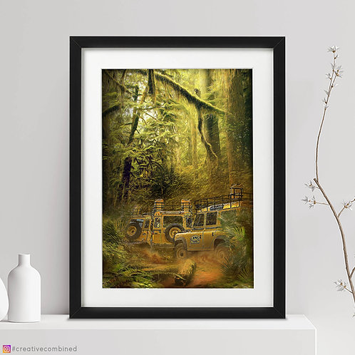 Land Rover Defender 110 - 'Jungle Brothers' - Camel Trophy 1984 - Fine Art Print