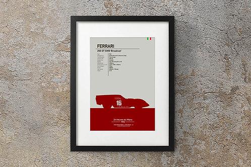 Ferrari 250GT SWB Breadvan 1962 - Fine Art Silhouette Sketch Print